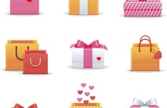 Lovely Shopping Bag & Gift Box Icon Set Vector