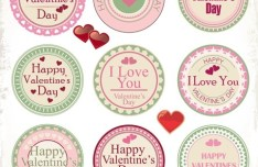Set Of Retro Happy Valentine's Day Labels Vector