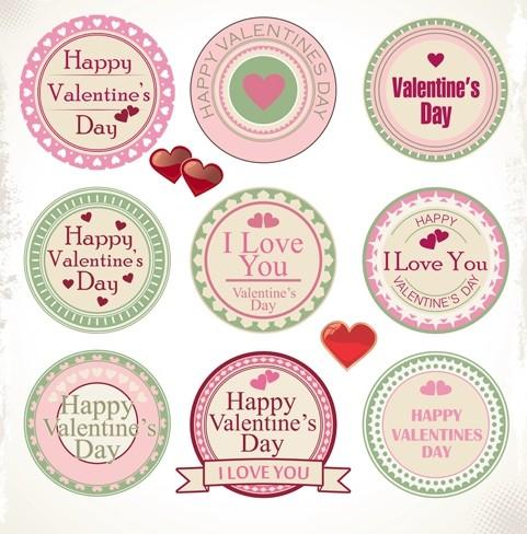 Set Of Retro Happy Valentine's Day Labels Vector