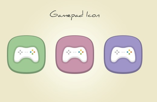 3 Flat Gamepad Icons PSD