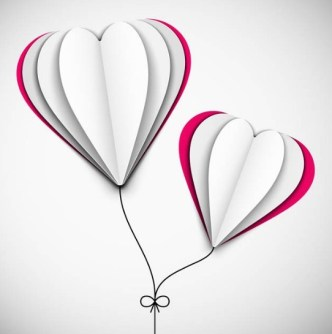Creative Paper Love Heart Balloons Vector