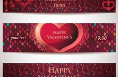 Set Of Red Valentine's Party Banners Vector