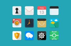 12 Flat Long Shadow Web & App Icons PSD