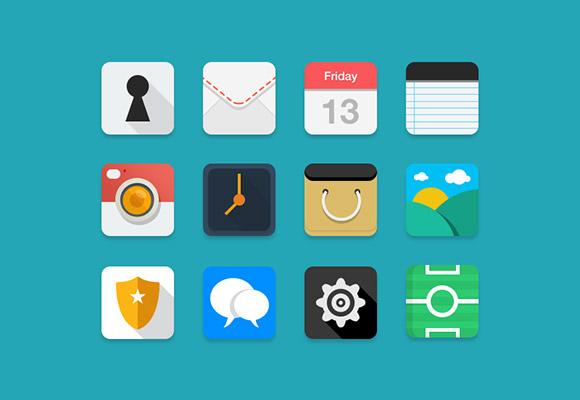 12 Flat Long Shadow Web & App Icons PSD