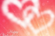 Blurred Love Heart Clouds Vector