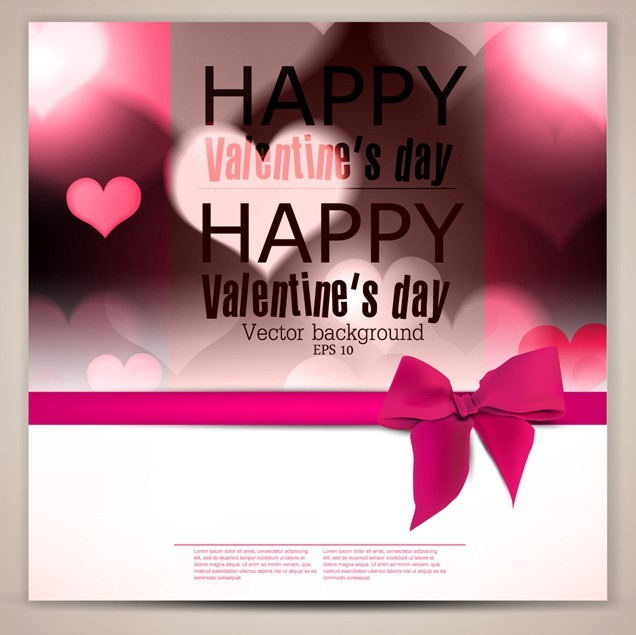 Lovely Happy Valentine's Day Card with Pink Ribbon Bow Vector