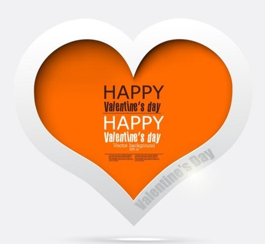 White and Orange Paper Love Heart Vector