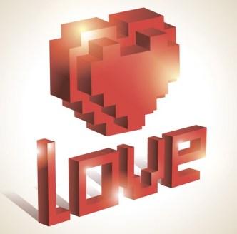 3D Red Lego Love Heart Vector
