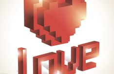 3D Red Lego Love Heart Vector