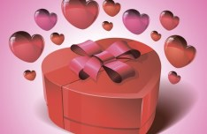 Glossy Valentine Gift with Love Hearts Vector