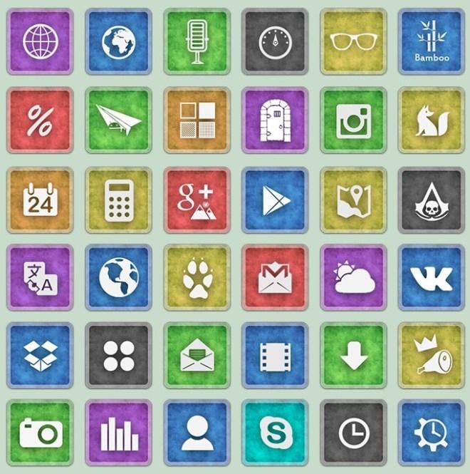 Rounded Grunge Social Media Icon Set