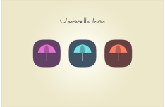 Flat Umbrella Icons PSD