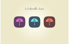 Flat Umbrella Icons PSD