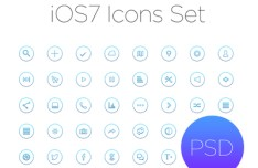 iOS 7 Style Outline Icon Set PSD