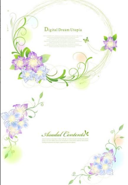Set of Green Flower & Vine Frames Vector 02