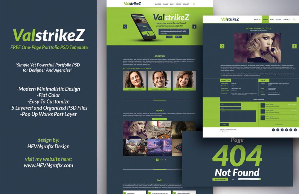 Free ValstrikeZ Portfolio Web PSD Template - TitanUI