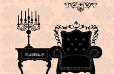 Vector Furniture Illustration with Vintage Floral Background 03