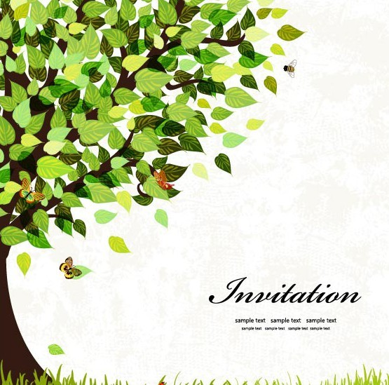 Spring Big Green Tree Vector Illustration