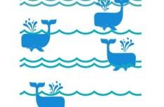 Cartoon Whales Vector Illustration