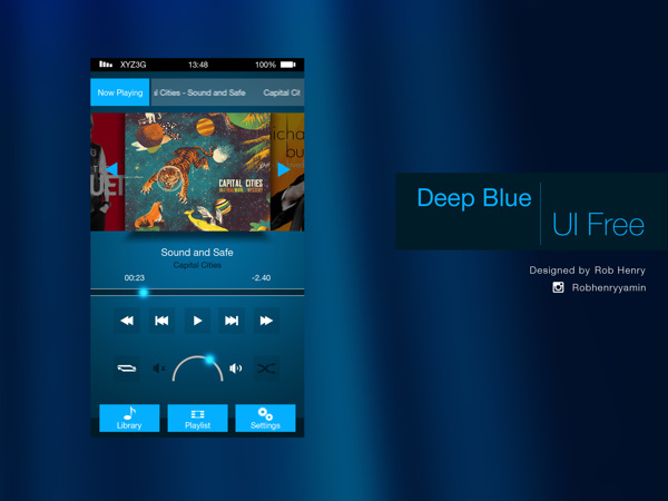 Deep Blue Mobile UI Kit PSD