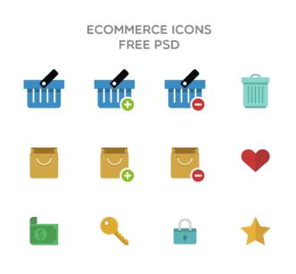Flat E-commerce Icons Set PSD