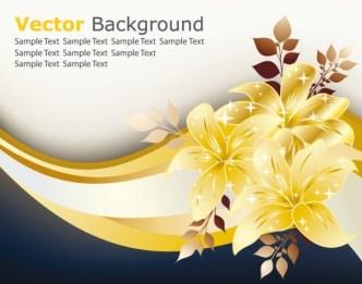 Golden Flower Background Vector