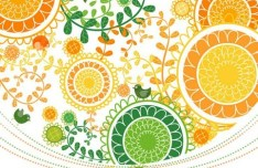 Green & Yellow Floral Pattern Vector