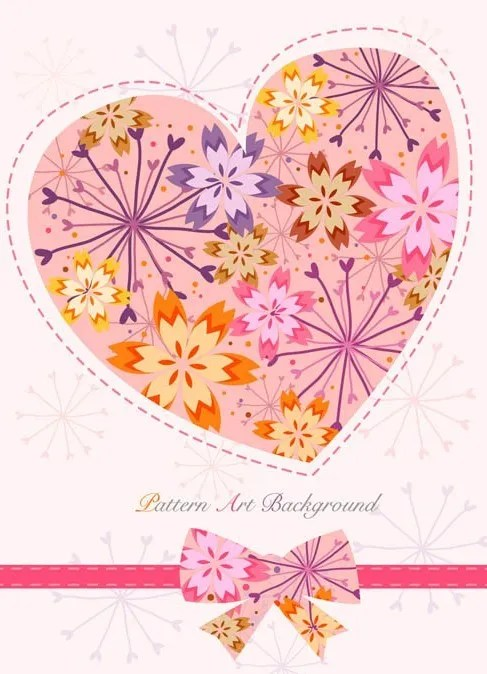 Lovely Flower Heart with Ribbon Bow Vector