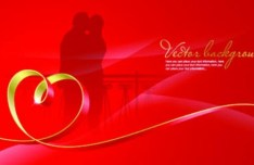 Red Valentine's Day Vector Banner Background 01