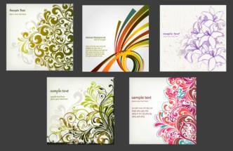4 Elegant Floral Art Backgrounds Vector