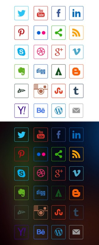 24 Social Media Outline Icons PSD