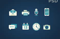 8 Green Flat Icons PSD