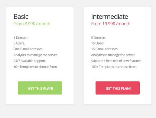 Flat Pricing Tables PSD