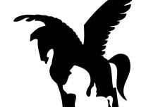 Black Horse with Wings Vector Silhouette