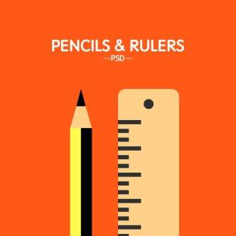 Flat Pencil and Ruler PSD