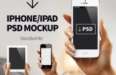 iPhone & iPad In Hands Mockup PSD