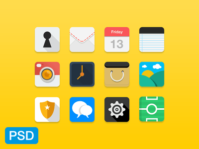 12 Flat Long Shadow Random Icons PSD
