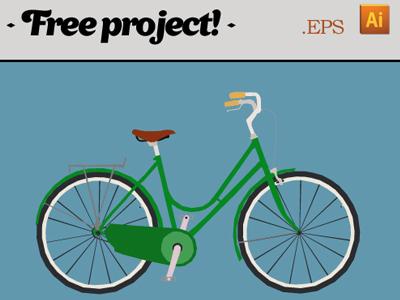 Vector Green Bike Illustration
