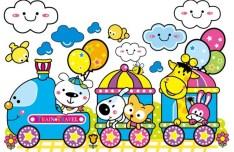 Cartoon Animals Train Vector Illustration