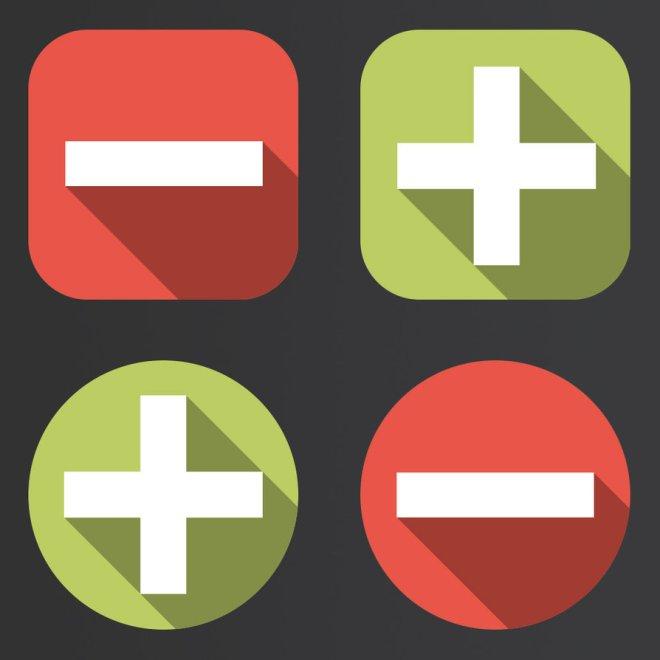 Flat Long Shadow Minus & Plus Icons PSD