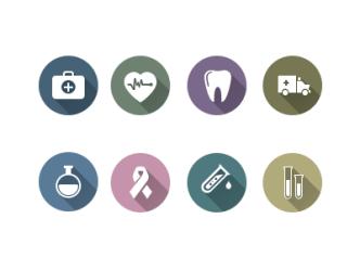 18 Flat Long Shadow Medicine Icons PSD & Vector