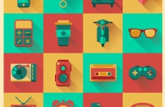 Flat Hipster Icons Vector