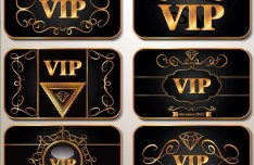 Set Of Golden VIP Card with Black Background Templates Vector