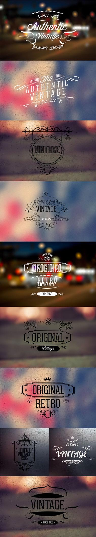 10 Vintage Retro Logo & Insignia Templates PSD