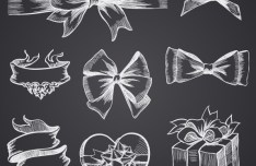 Hand Drawn Gift Boxes & Ribbon Bows Vector