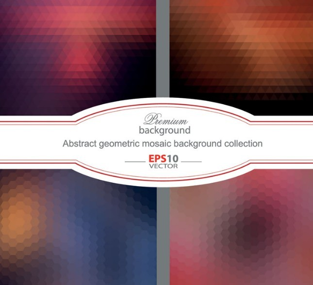 Red Abstract Geometric Mosaic Background Vector
