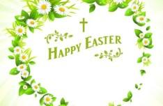 Green Happy Easter Heart Wreath Vector