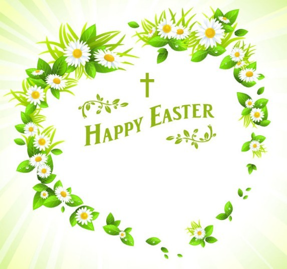 Green Happy Easter Heart Wreath Vector
