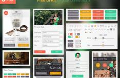 Flat On Line Store UI Kit PSD