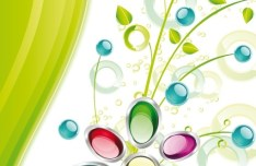 Colorful Spring Glossy Flower Background Vector 04